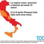 Covid: da lunedì 15 marzo 9 Regioni in area rossa.